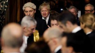 Le Premier ministre britannique Boris Johnson lors du traditionnel discours du trône de la reine Elizabeth II, au palais de Westminster à Londres, le 19 décembre 2019.