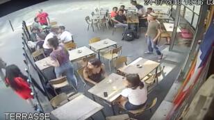 La scène a été en partie filmée en vidéosurveillance.