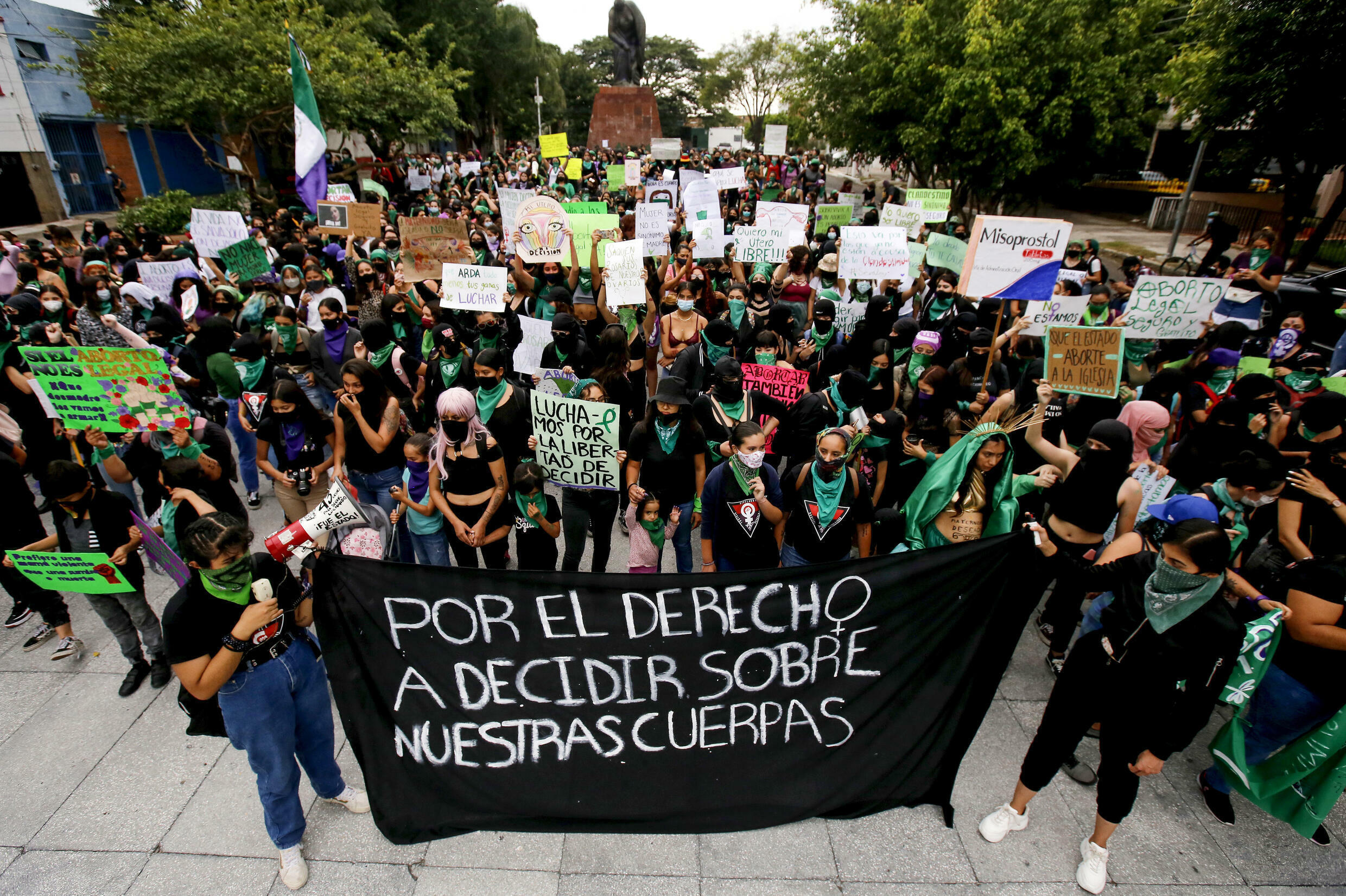 Supporters of the legalization of abortion take part in a demonstration in the framework of the International Safe Abortion Day, in Guadalajara, Mexico on September 28, 2020