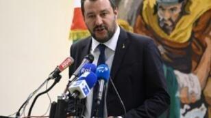 وزير الداخلية الإيطالي ماتيو سالفيني خلال مؤتمر صحفي في تونس 27 أيلول/سبتمبر 2018.