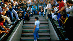 Diego Maradona arrives at the Stadio San Paolo in Naples in the summer of 1984.