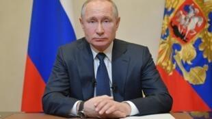 الرئيس الروسي فلاديمير بوتين في كلمة تلفزيونية نادرة توجه بها إلى الأمة في موسكو، 25 آذار/مارس 2020