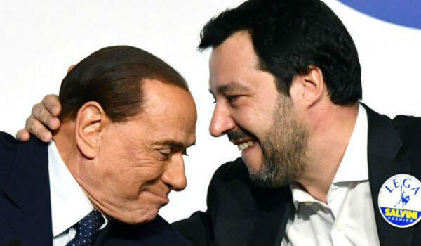 League leader Matteo Salvini (right) is under pressure to ditch his cumbersome ally Silvio Berlusconi.