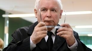 """Jaroslaw Kaczynski, leader of conservative ruling PiS party (pictured October 2018), called LGBT rights a 'threat"""" to Poland and called on the country's 38 million people to respect the Catholic Church regardless of personal beliefs"""