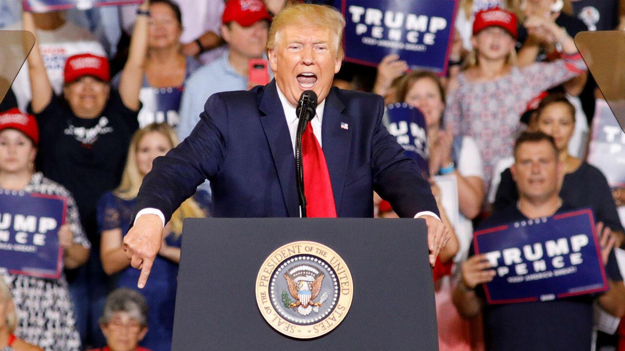 El presidente de Estados Unidos, Donald Trump, durante un mitin político, en Greenville, Carolina del Norte, el 17 de julio de 2019.
