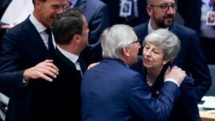 La première ministre britannique Theresa May accueillie au sommet de Bruxelles, le 21mars2019.