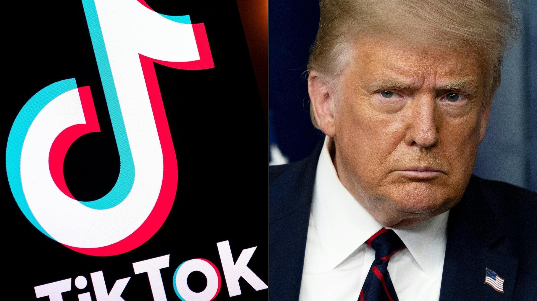 En esta combinación de archivos de imágenes creadas el 1 de agosto de 2020, se muestra el logotipo de la aplicación de redes sociales Tiktok y el presidente de Estados Unidos, Donald Trump.