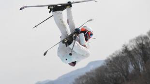 Le Français Antoine Adelisse lors de l'épreuve de ski slopestyle, aux JO de Pyeongchang, le 18 février 2018