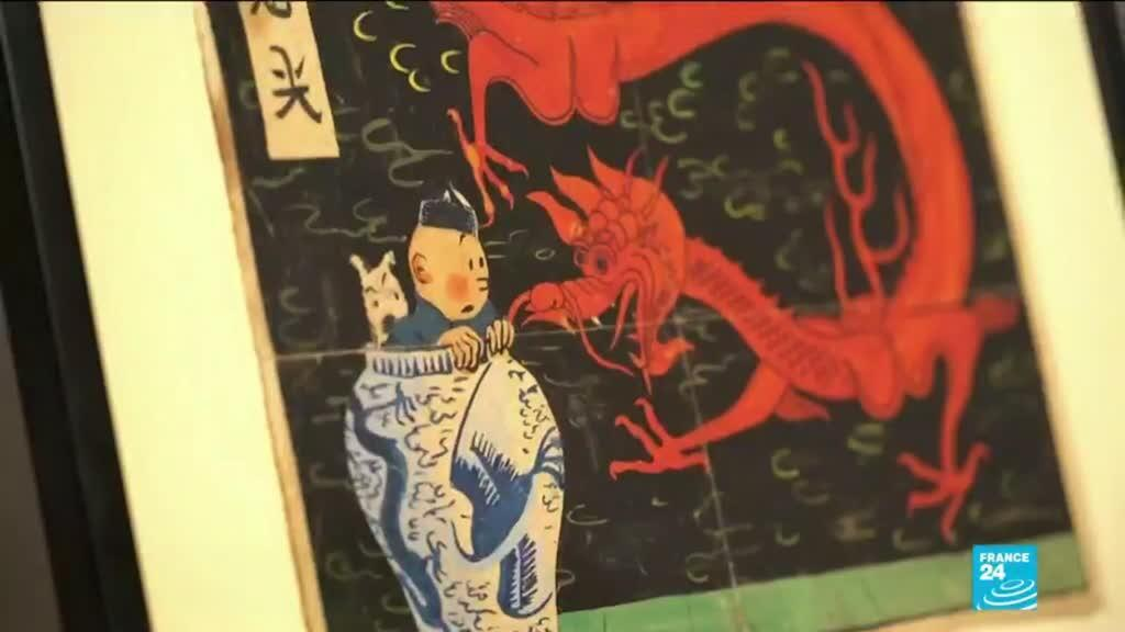 Tintin Blue Lotus cover painting at auction — screen grab
