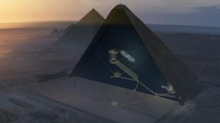 Esta es la vista tridimensional de la cámara secreta hallada por la misión ScanPyramids y dada a conocer el 2 de noviembre de 2017 por un grupo internacional de expertos en la revista Nature.