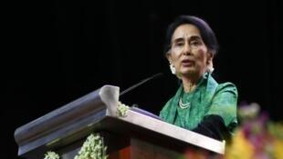 La lauréate du prix Nobel de la paix 1991 Aung San Suu Kyi.