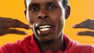 Le Kényan Paul Lonyangata en conférence de presse, à Kaptagat au Kénya, le 14 mars 2019