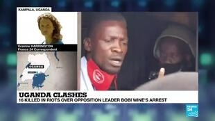 2020-11-20 08:12 16 people killed as Uganda's security personnel battle protests over Bobi Wine arrest