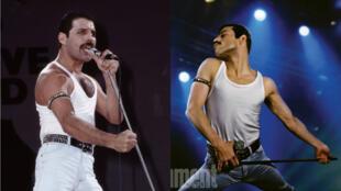 À gauche Freddie Mercury au concert Live Aid le 13 juillet 1985, à droite l'acteur Rami Malek dans le biopic sur Queen de Bryan Singer.