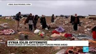 2019-12-24 16:04 Air strikes in Idlib, Syria causes mass exodus of civilians
