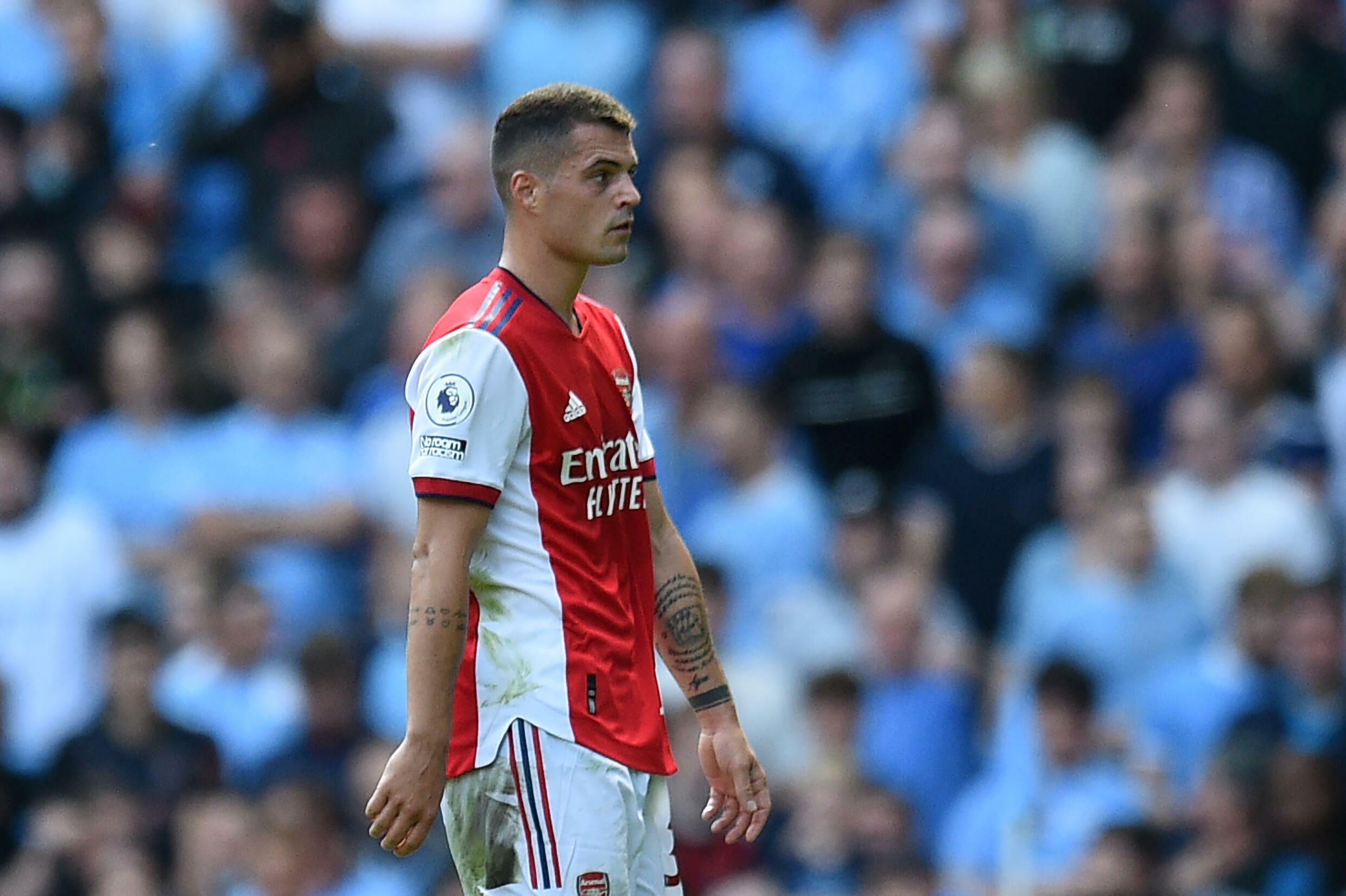 Arsenal's Granit Xhaka was sent-off in a 5-0 thrashing at the hands of Manchester City