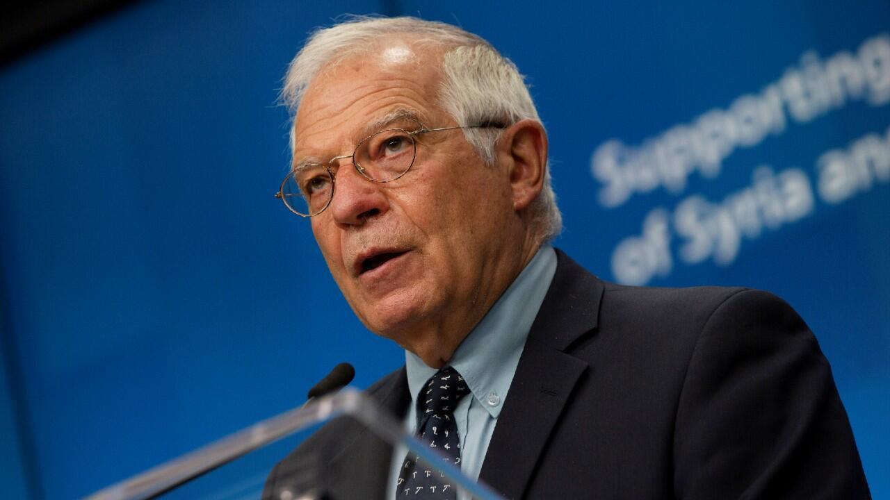 En la imagen el representante de la Unión Europea para la Política Exterior, Josep Borrell, durante una conferencia sobre el futuro de Siria y su región impartida desde el Consejo Europeo, en Bruselas, Bélgica. El 30 de junio de 2020.