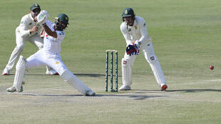 Fawad Alam (C) scored a century for Pakistan in Karachi