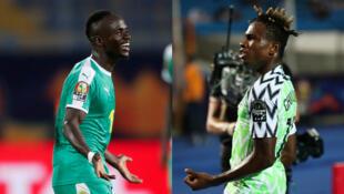 Sadio Mané, de Senegal, y Samuel Chukwueze, de Nigeria, celebran durante los partidos de cuartos de final de la Copa Africana de Naciones 2019 en Egipto.