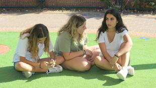 Kai, Alma and Shaked, aged 13 to 14, fought for the right to wear shorts to school in Ra'anana, central Israel.