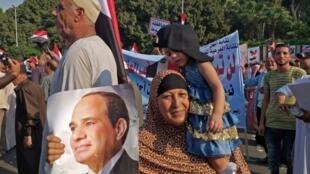 Manifestation de soutien au président Abdel Fattah al-Sissi, au Caire, dans le quartier de Nasr City, le 27 septembre 2019.