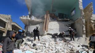 موقع سقوط صاروخ للتحالف في محافظة إدلب 19 مارس/آذار 2017.