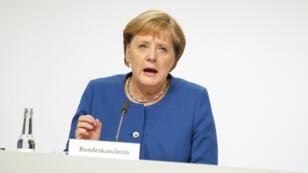 La chancelière allemande, Angela Merkel, prend la parole lors d'une conférence de presse à l'issue d'une réunion du comité sur le climat, le 20 septembre 2019, à Berlin.