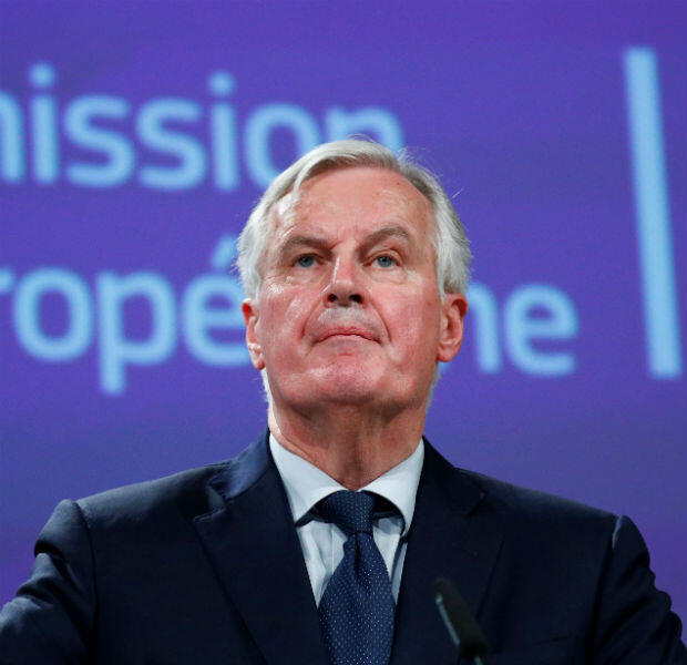 El negociador principal del Brexit de la Unión Europea, Michel Barnier, entrega una declaración después de la reunión de gabinete de la primera ministra británica Theresa May, en Bruselas, Bélgica, el 14 de noviembre de 2018.