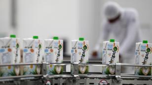 Cajas de agua de coco se ven en las instalaciones industriales de Frysk Industrial, una filial del grupo brasileño-estadounidense Aurantiaca, cerca de Conde, una ciudad a unos 200 km al norte de Salvador, en Brasil, el 22 de marzo de 2018.