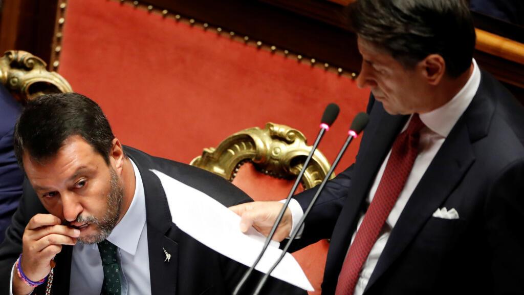 """En una intervención muy dura, Giuseppe Conte ha acusado a Matteo Salvini de oportunismo y de """"irresponsabilidad"""", al haber desatado una crisis """"que ha llevado al país a una espiral de incertidumbre política y financiera""""."""