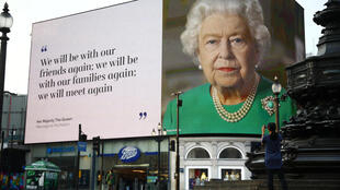A message from Her Majesty The Queen is displayed on a screen in Piccadilly Circus, as the spread of the coronavirus disease (COVID-19) continues, London, Britain, April 8, 2020.