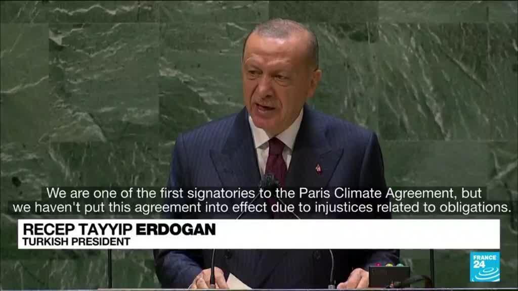 2021-09-22 13:01 Turkey to ratify Paris climate agreement, Erdogan tells UN
