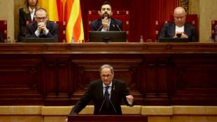 Quim Torra compareció en el Parlament para anunciar su voluntad de organizar un nuevo referendo. En Barcelona, España. El 17 de octubre de 2019.