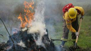 Brigadistas combaten el fuego donde hay incendios activos en la sureña región de La Araucanía, en Chile, el 5 de febrero de 2019.