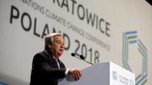 Le secrétaire général de l'ONU Antonio Guterres, au sommet COP24 à Katowice en Pologne, le 3 décembre 2018.
