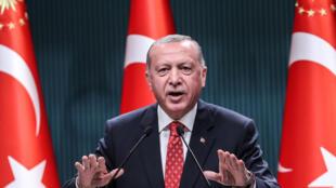الرئيس التركي رجب طيب إردوغان في المجمع الرئاسي في أنقرة في 10 آب/أغسطس 2020