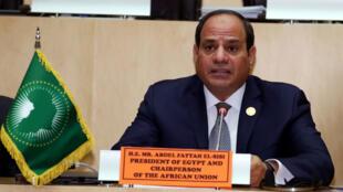 El presidente egipcio Abdel Fattah al-Sisi asiste a una rueda de prensa al final de una cumbre de la Unión Africana en Adís Abeba, Etiopía, el 11 de febrero de 2019.