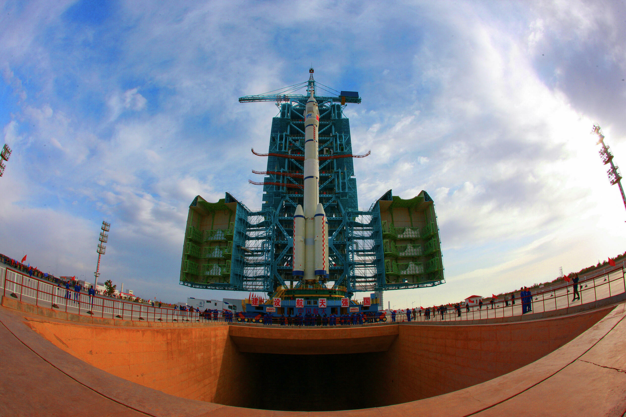 A Long March-2F carrier rocket, carrying the  Shenzhou-13 spacecraft that was launched by China on October 16, 2021, was transported days earlier to the launching area at the Jiuquan Satellite Launch Centre in the northwestern Gansu province