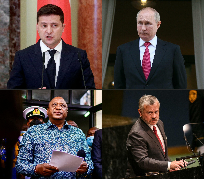 Top left: Ukrainian President Volodymyr Zelensky Top right: Russian President Vladimir Putin Bottom left: Kenyan President Uhuru Kenyatta  Bottom right: Jordan's King Abdullah II bin Al-Hussein.