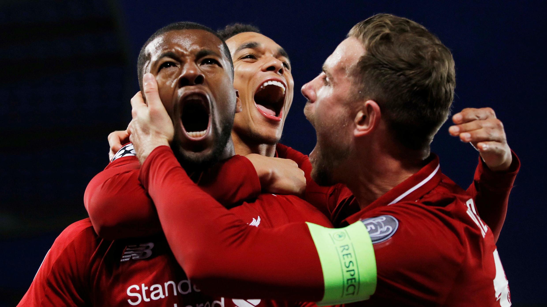 Dos goles de Wijnaldum y dos de Origi sirvieron para que el Liverpool remontara al Barcelona. 7 de mayo de 2019.