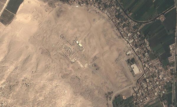 Vue satellite du site d'Athribis, en Égypte.