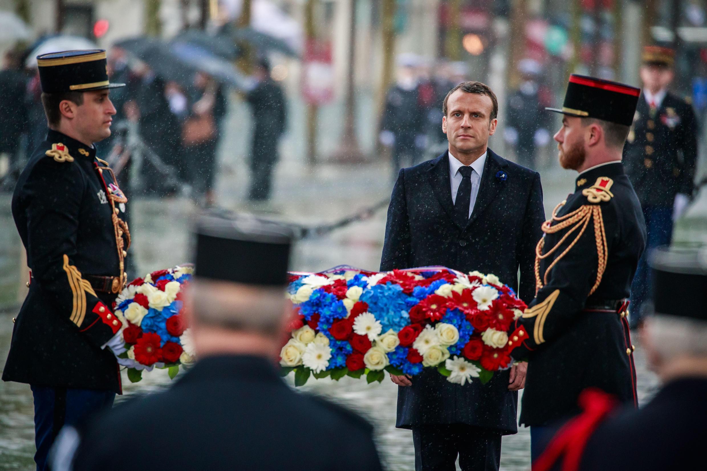 Le président Emmanuel Macron lors de la cérémonie du 8-Mai en 2019, à l'Arc de Triomphe, à Paris.