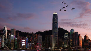 Birds fly above a sunset view and a skyline of buildings during a meeting on national security legislation, in Hong Kong, China June 29, 2020.