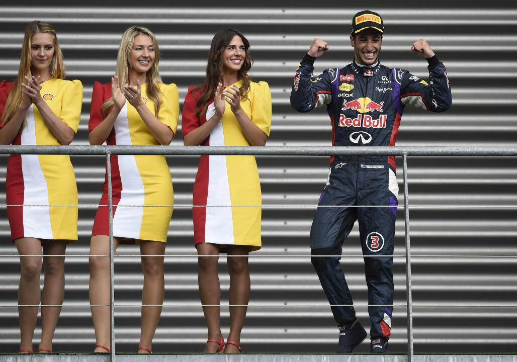 Des hôtesses lors du Grand prix de Formule1 de Belgique, en 2014.