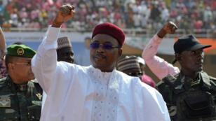 Le président sortant et candidat à sa réélection Mahamadou Issoufou, jeudi 18 février 2016, lors d'un meeting à Niamey.