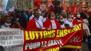 Manifestation pour l'augmentation des effectifs dans les Ehpad, le 30 janvier 2018, à Paris.