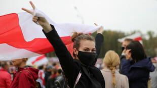 مظاهرة ضد الرئيس البيلاروسي ألكسندر لوكاشينكو في العاصمة مينسك، 27 سبتمبر/ أيلول 2020