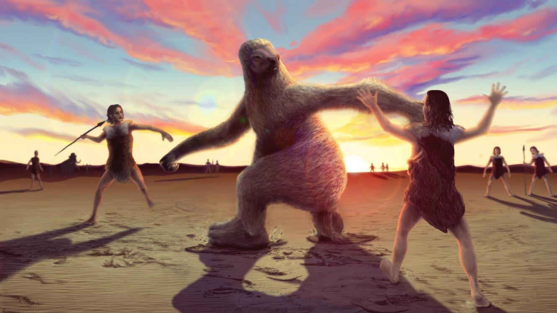 Une reconstitution d'une chasse au paresseux géant, d'après les empreintes au sol découvertes au White Sands National Monument.
