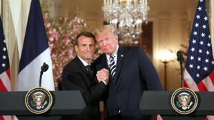 Emmanuel Macron et Donald Trump, le 24 avril 2018, à Washington.