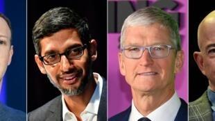 (G à D): Le patron de Facebook Mark Zuckerberg le 23 mai 2018, de Google Sundar Pichai, le 22 janvier 2019, d'Apple Tim Cook, le 28 octobre 2019 et d'Amazon Founder Jeff Bezos le 6 juin 2019